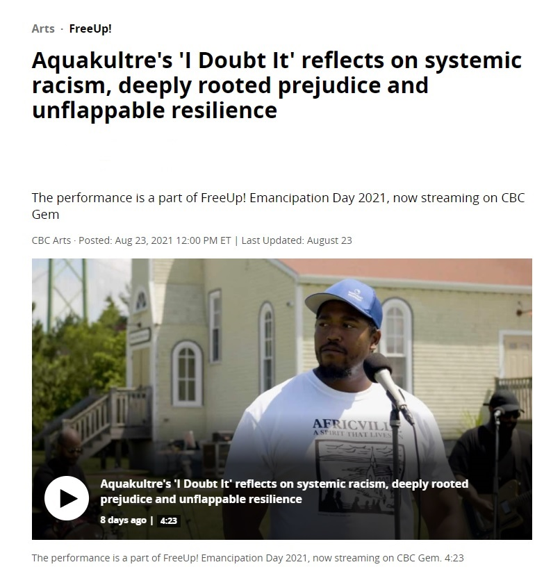 """Link to CBC Gem's video of Aquacultre performing """"I Doubt It"""" on Emancipation Day,, August 1, 2021."""